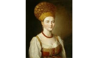 Argunov-Portrait-d-une-inconnue-habillee-en-costume-traditionnel-1784